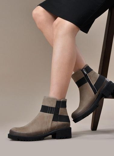 Vizon Ayakkabı Hakiki Deri Bot Bej